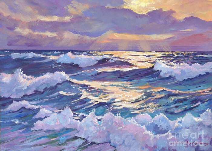 Seascapes Greeting Card featuring the painting Sunset Santa Catalina by David Lloyd Glover
