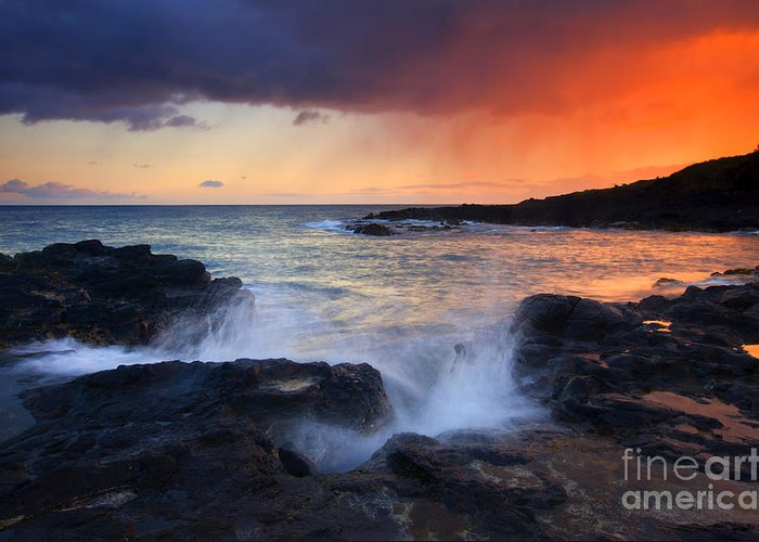 Waves Greeting Card featuring the photograph Sunset Storm Passing by Mike Dawson