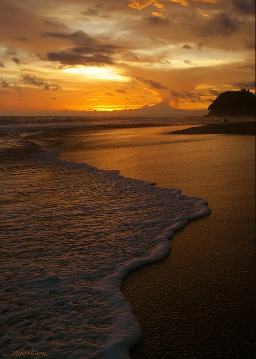 Sunset Greeting Card featuring the photograph Sunset Surf Playa Hermosa Costa Rica by Michelle Wiarda