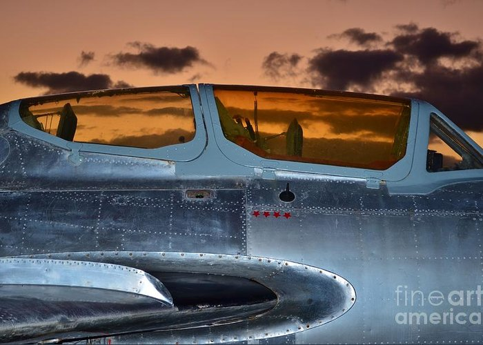 1951 Russian Mig Greeting Card featuring the photograph Sunset Through The Cockpit by Lynda Dawson-Youngclaus