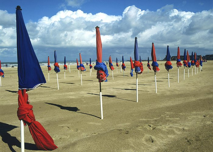Watersides Greeting Card featuring the photograph Sunshade On The Beach. Deauville. Normandy by Bernard Jaubert