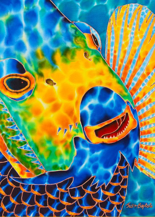 Angelfish Painting Greeting Card featuring the painting Sunshine Angelfish by Daniel Jean-Baptiste