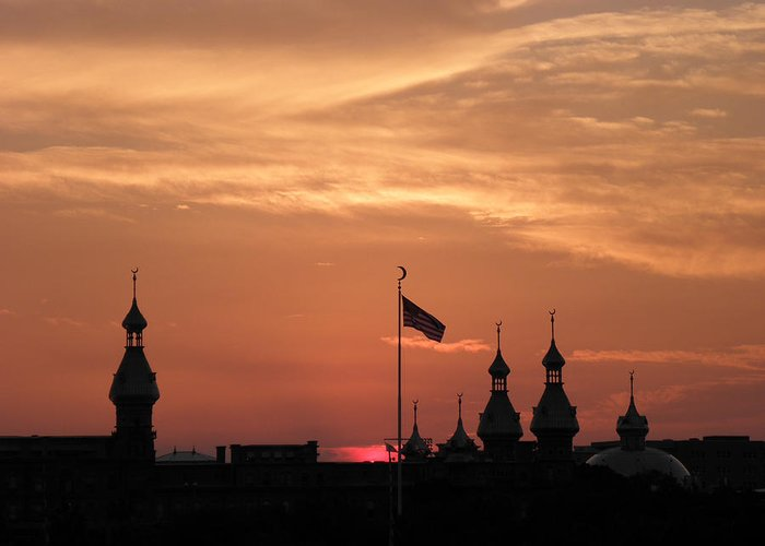 Sunset Greeting Card featuring the photograph Sunst Over The University Of Tampa by Diane Barrett