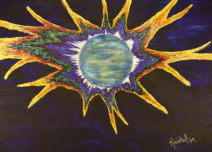 Greeting Card featuring the painting Super Nova by Kris Tal Knutson