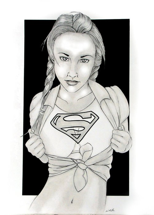 Dc Comics Greeting Card featuring the drawing Supergirl by Nathan Miller