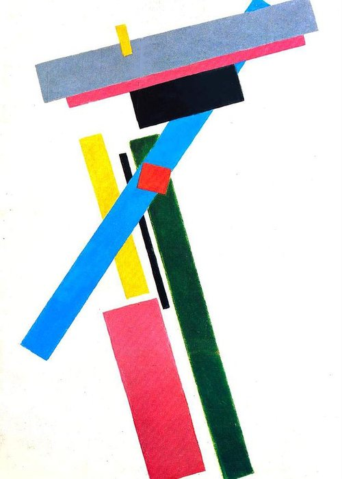 Suprematism ;suprematist; Abstract; Composition; Geometric; Cutout; Copyspace; Colourful; Oblong; Oblongs; Rectangle; Rectangles Greeting Card featuring the painting Suprematism by Kazimir Severinovich Malevich