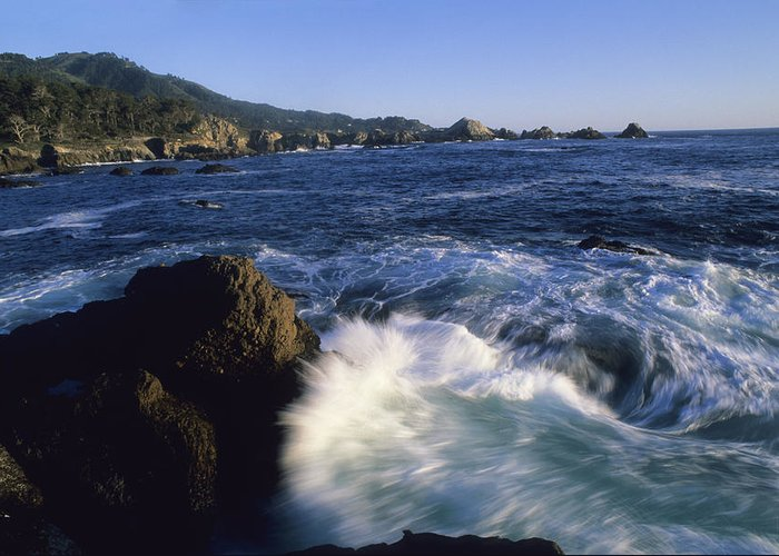 North America Greeting Card featuring the photograph Surf Pounds And Swirls Around Bird Rock by Rich Reid