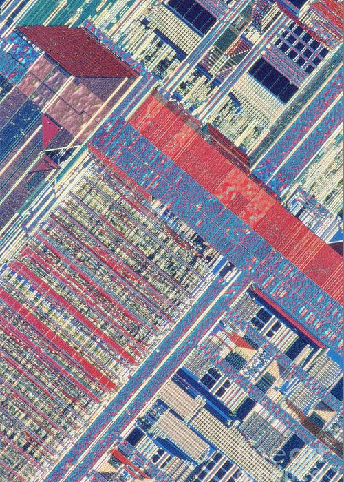 Microprocessor Greeting Card featuring the photograph Surface Of Integrated Chip by Michael W. Davidson