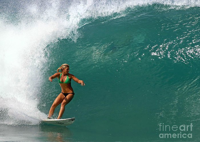 Ocean Greeting Card featuring the photograph Surfer Girl by Paul Topp