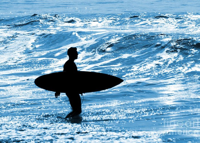 Blue Greeting Card featuring the photograph Surfer Silhouette by Carlos Caetano