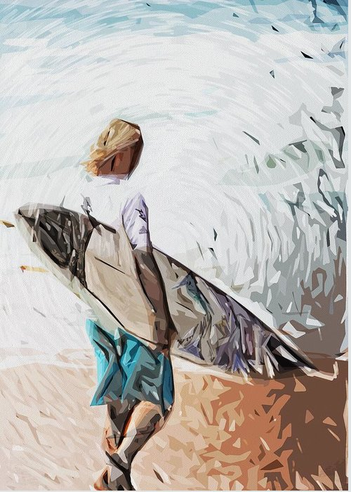 Surfer Dude Greeting Card featuring the digital art Surfer by Tilly Williams