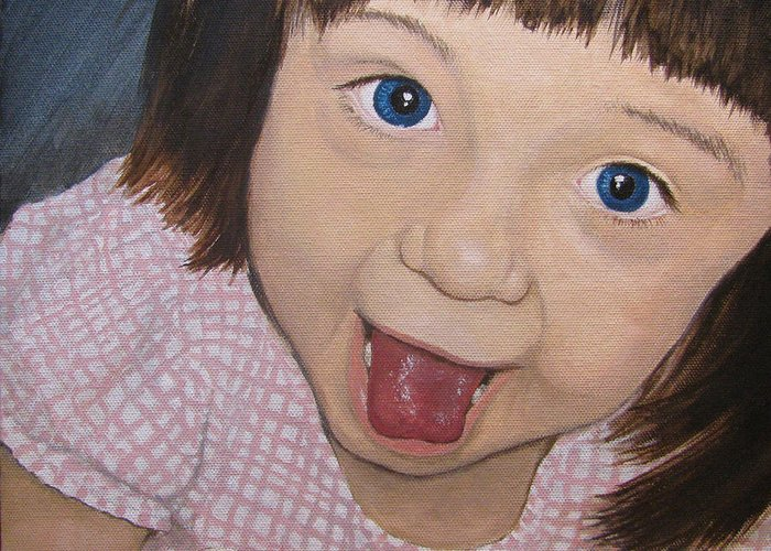 Toddler Greeting Card featuring the painting Surprise by Tanya Petruk