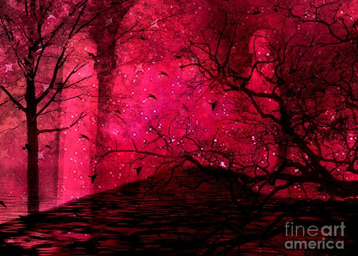 Surreal Nature Prints Greeting Card featuring the photograph Surreal Fantasy Red Nature Trees And Birds by Kathy Fornal