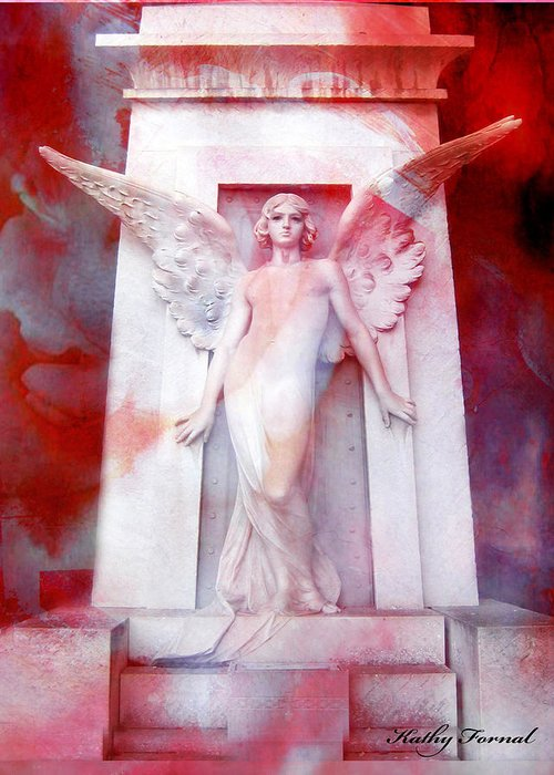Dreamy Angel Art Wings Greeting Card featuring the photograph Surreal Impressionistic Red White Angel Art by Kathy Fornal