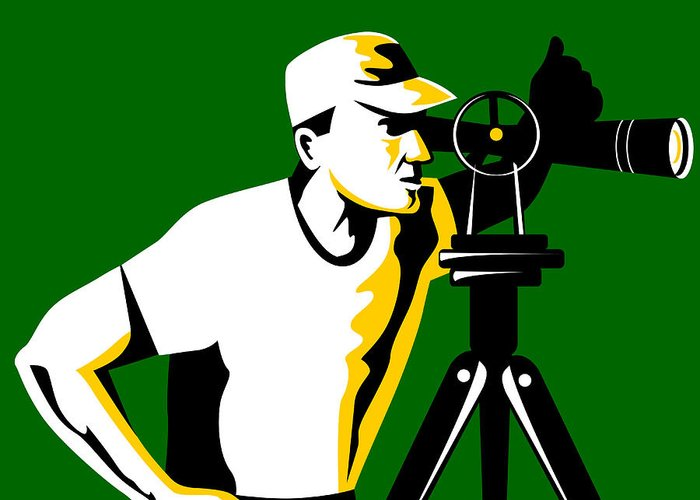 Surveyor Greeting Card featuring the digital art Surveyor Geodetic Engineer Survey Retro by Aloysius Patrimonio