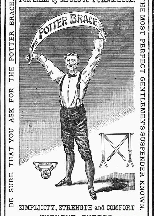 1888 Greeting Card featuring the photograph Suspenders, 1888 by Granger