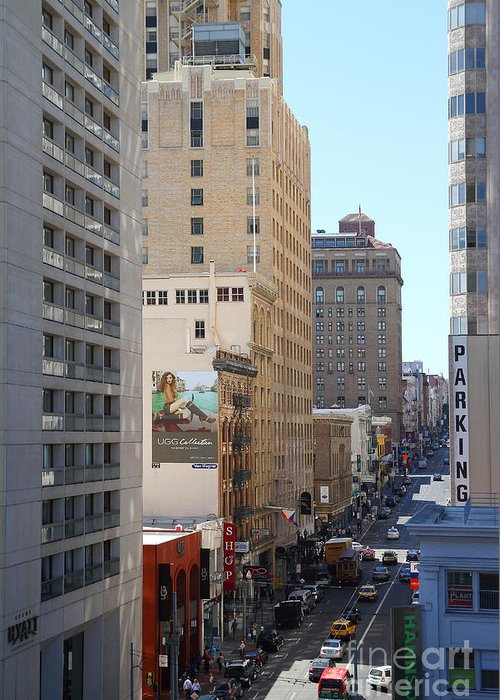 San Francisco Greeting Card featuring the photograph Sutter Street West View by Wingsdomain Art and Photography