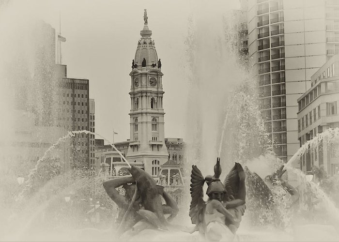 Fountain Greeting Card featuring the photograph Swann Memorial Fountain In Sepia by Bill Cannon