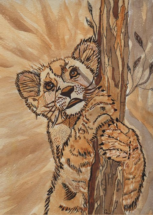Animals Greeting Card featuring the painting Sweet Baby by Connie Valasco