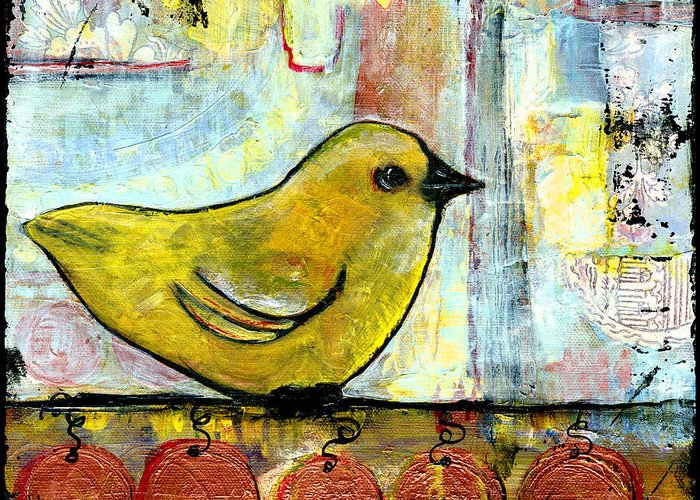 Animals Greeting Card featuring the painting Sweet Green Bird by Blenda Studio