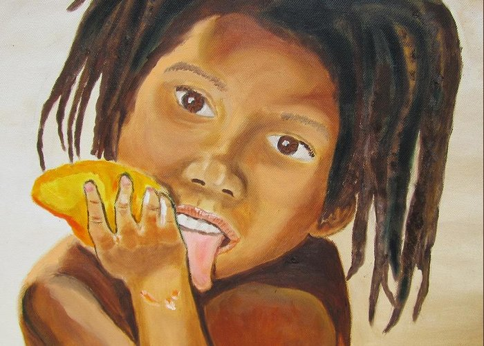Child Greeting Card featuring the painting Sweet Mango by Jennylynd James