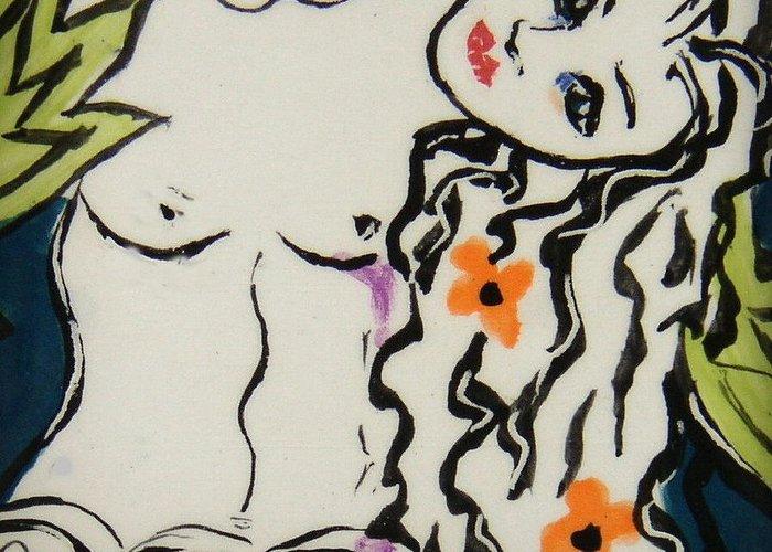 Mermaid Greeting Card featuring the ceramic art Sweet Mermaid by Patricia Lazar