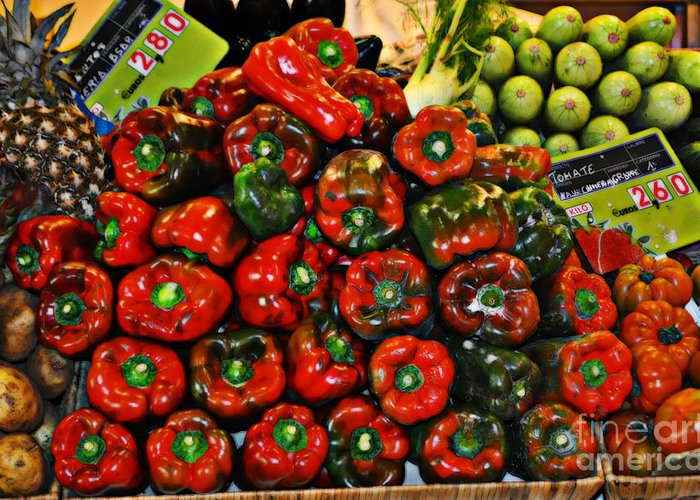 Sweet Red Peppers Greeting Card featuring the photograph Sweet Red Peppers by Mary Machare