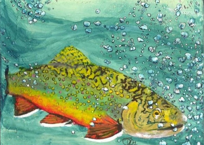 Salmon Greeting Card featuring the mixed media Swimming Upstream by Sheryl Brandes