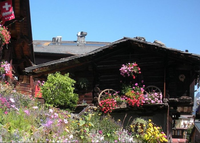 Europe Greeting Card featuring the photograph Swiss Chalet Interlaken by Marilyn Dunlap