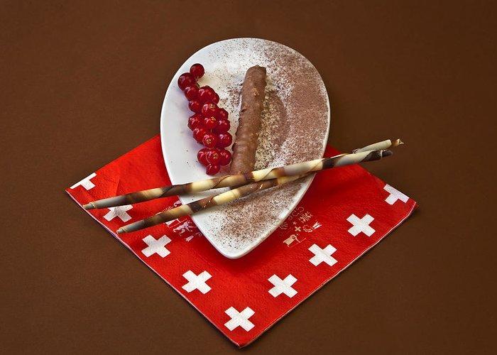 Chocolate Greeting Card featuring the photograph Swiss Chocolate Praline by Joana Kruse