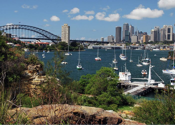 Landscape Greeting Card featuring the photograph Sydney From Blues Point by Terry Everson