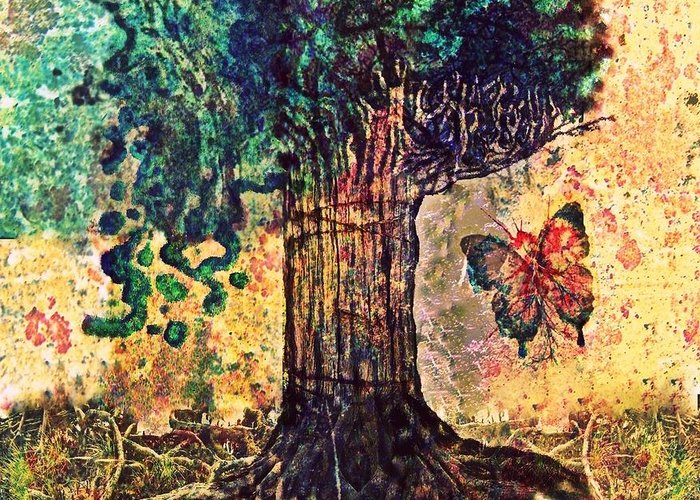 Tree Greeting Card featuring the digital art Symbolically Solid Tree by Paulo Zerbato