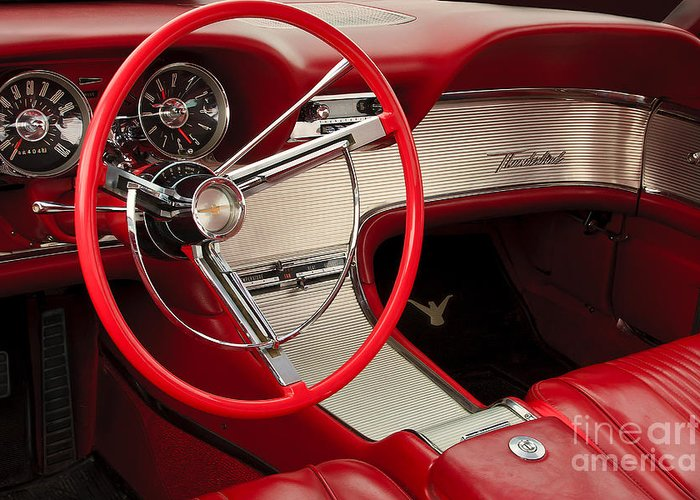 Classic Automobile Greeting Card featuring the photograph T-bird Interior by Dennis Hedberg