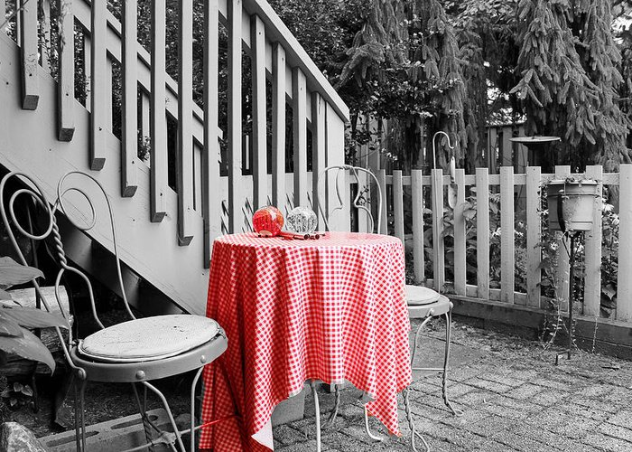 Still Life Greeting Card featuring the photograph Table And Chairs by Frank Nicolato