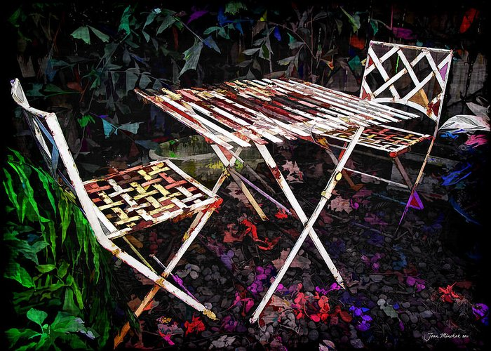 Botanical Greeting Card featuring the photograph Table And Chairs by Joan Minchak