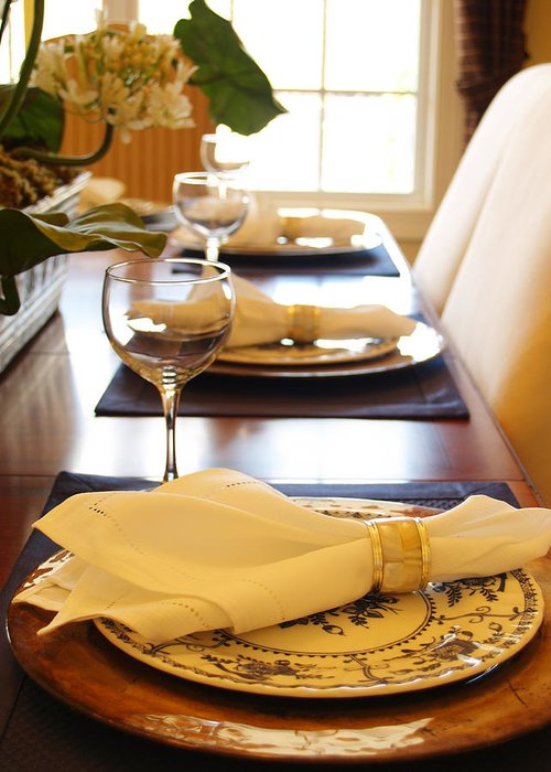 Place Greeting Card featuring the photograph Table Set For Dinner by Jeremy Allen