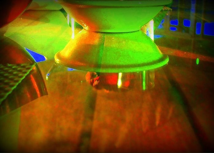 Table Greeting Card featuring the photograph Table Topsy Turvy by Randall Weidner