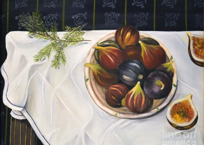 Figs Greeting Card featuring the painting Table With Figs by Carol Sweetwood