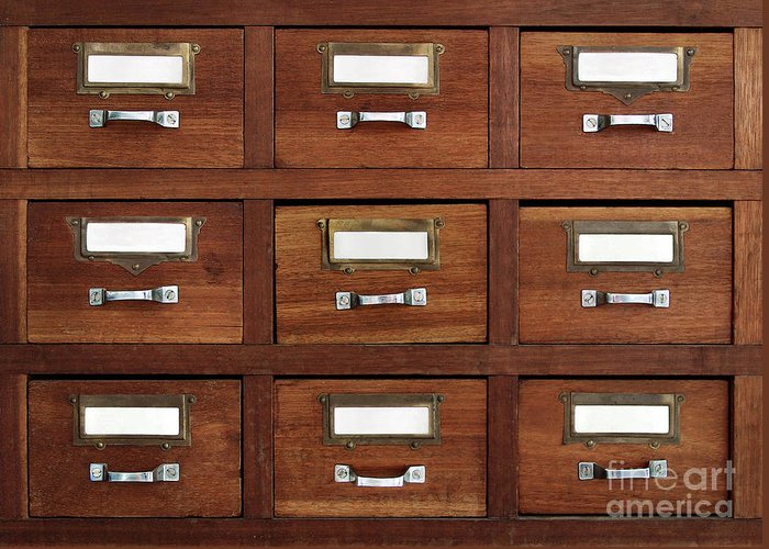 Access Greeting Card featuring the photograph Tagged Drawers by Carlos Caetano