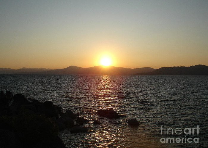 Sunset Greeting Card featuring the photograph Tahoe Sunset by Silvie Kendall