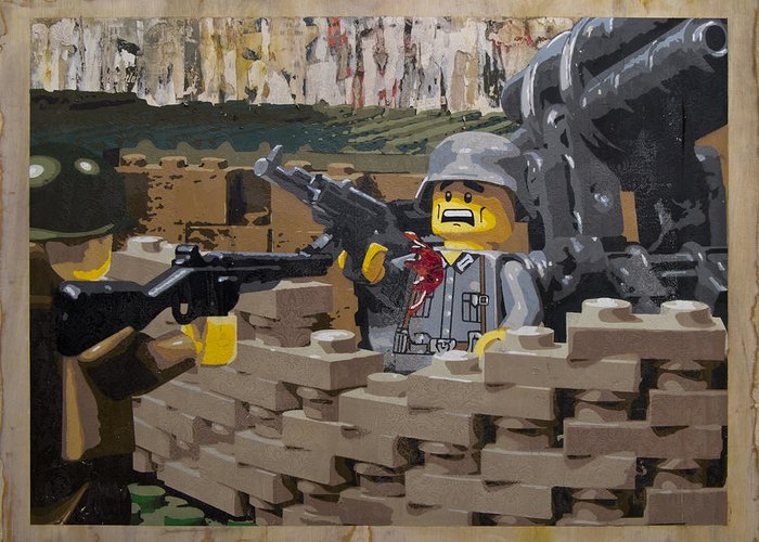 Lego Greeting Card featuring the painting Taking The Bunker by Josh Bernstein