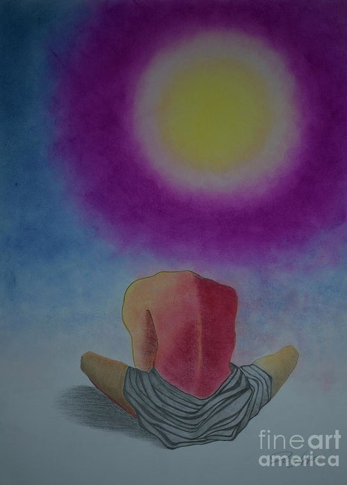 Man Greeting Card featuring the painting Talking With Sun by Jalal Gilani