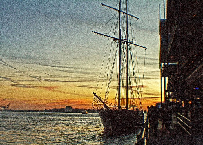 Tall Ships Greeting Card featuring the photograph Tall Ship In Manhattan by Alex AG