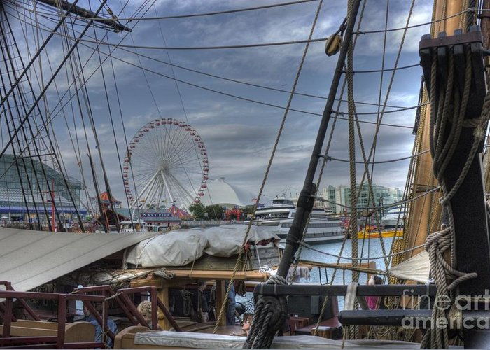 Tall Ships Greeting Card featuring the photograph Tall Ships At Navy Pier by David Bearden