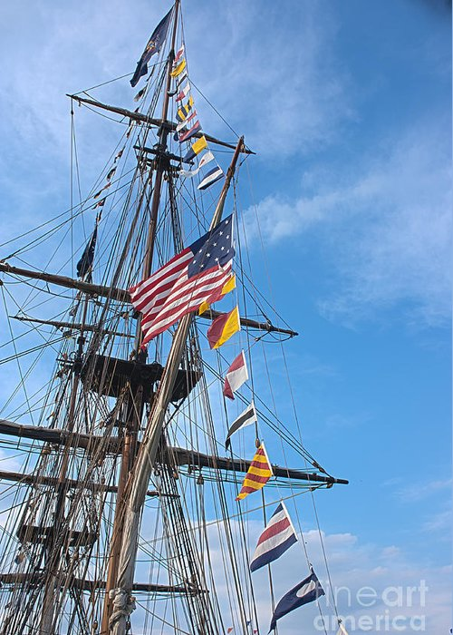 Tall Ships Greeting Card featuring the photograph Tall Ships Banners by David Bearden