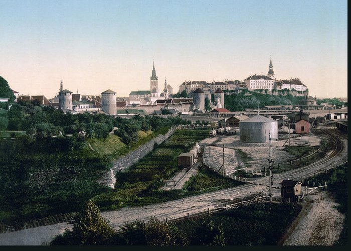Reval Greeting Card featuring the photograph Tallinn Estonia - Formerly Reval Russia Ca 1900 by International Images