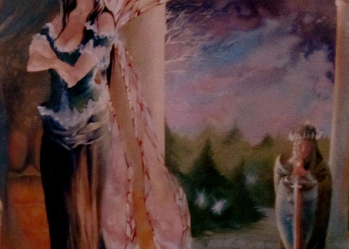 Tamlin Fairy Queen Poem Greeting Card featuring the painting Tamlin by Jackie Rock