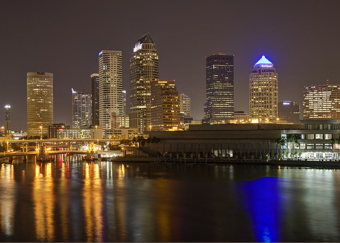 Tampa Greeting Card featuring the photograph Tampa Nighttime Skyline by Paer Hansson