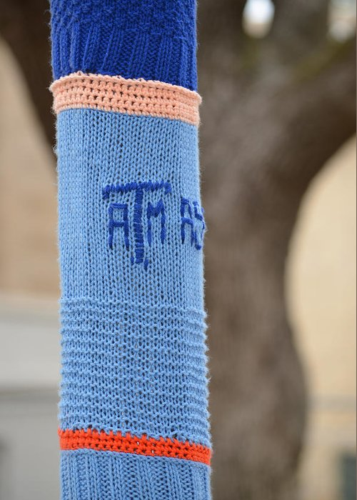 Tamu Greeting Card featuring the photograph Tamu Astronomy Crocheted Lamppost by Nikki Marie Smith