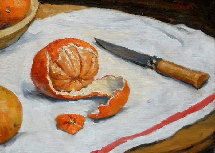 Still Greeting Card featuring the painting Tangerine And Knife by Thor Wickstrom